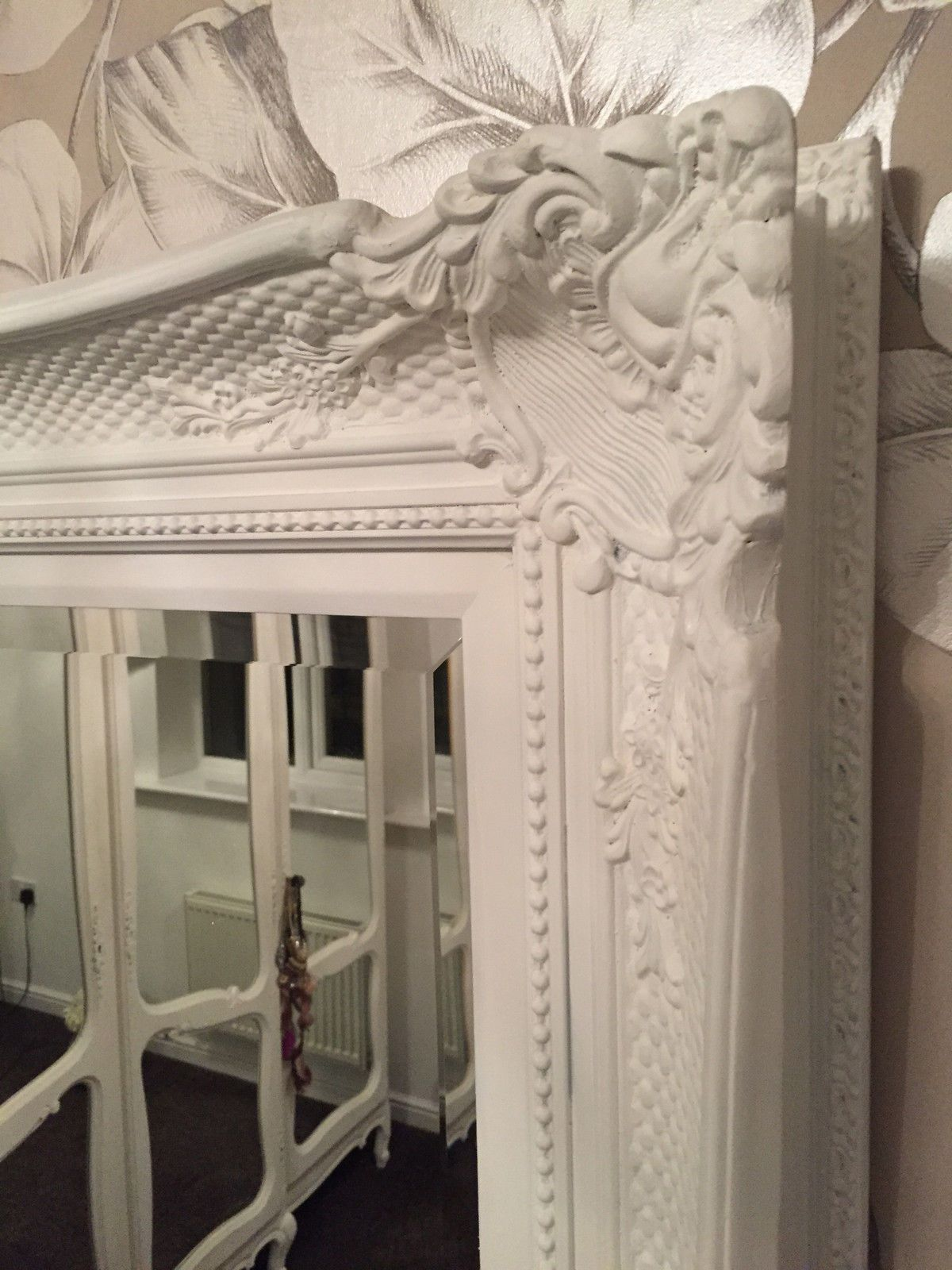 Huge French White Decorative Ornate Mirror Other Frame